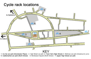 Map showing the cycle rack locations in Thame town centre