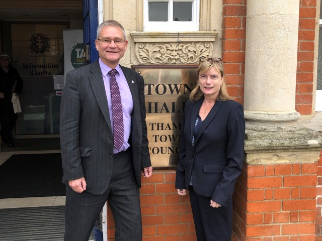 Retiring Town Clerk Graham Hunt (pictured left) and new Town Clerk Jayne Cole (pictured right)